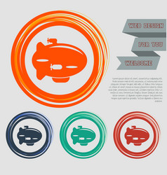 Airship icon on the red blue green orange buttons vector