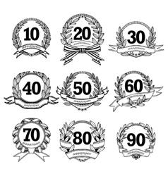 Anniversary Labels Set vector image