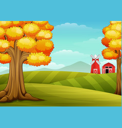 Autumn trees in farm landscape with barn and windm vector