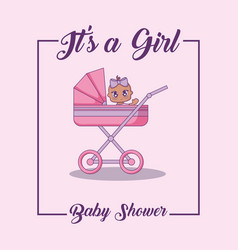 baby shower card with little girl with cart vector image