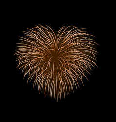 beautiful heart-firework gold romantic firework vector image