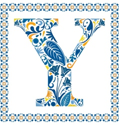 Blue letter Y vector