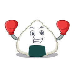 Boxing onigiri character cartoon style vector