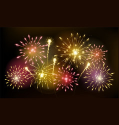 bright colorful fireworks sparkles shining vector image