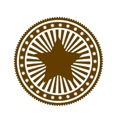 Brown stamp abstract art deco emblem with star vector