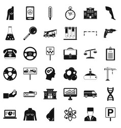 business instrument icons set simple style vector image