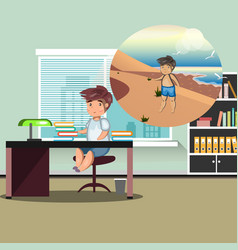 business man working and dreaming about a beach vector image