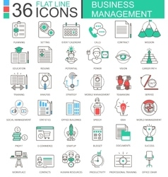 Business management modern color flat line vector image