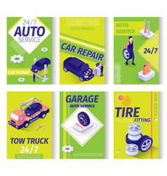 Car repair service advertisement isometric set vector