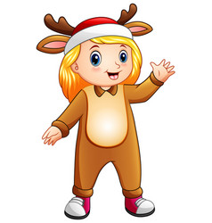 cartoon girl in christmas deer costmue vector image