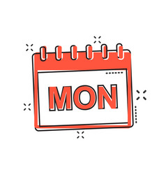 cartoon monday calendar page icon in comic style vector image