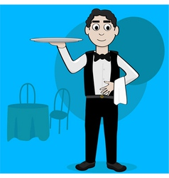 Cartoon waiter vector