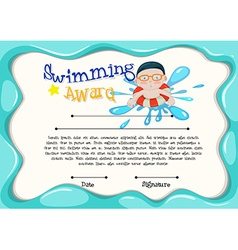 Certification template of best swimmer vector image