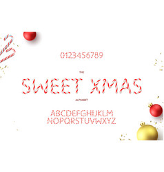 christmas alphabet and numerals template vector image