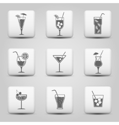 Cocktail icons on web buttons vector image vector image