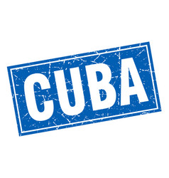 Cuba blue square grunge vintage isolated stamp vector