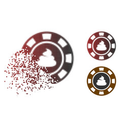 Damaged dot halftone shit casino chip icon vector