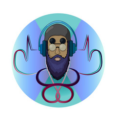 dj hipster icon template colorful vector image
