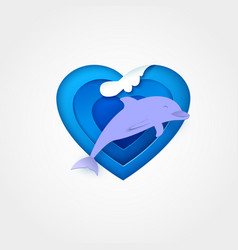 Dolphin on blue heart shaped sea with wave vector