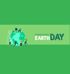 earth day web banner of young people celebration vector image