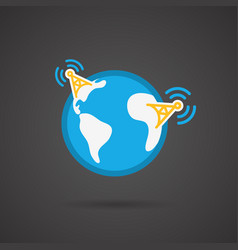 earth icon on black background vector image
