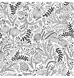 Ethnic style floral black and white seamless vector