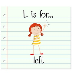 Flashcard letter L is for left vector