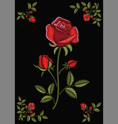Floral stitched ornament with stitch rose vector