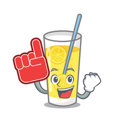 Foam finger lemonade mascot cartoon style vector
