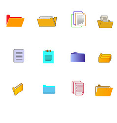 Folder and note icons set vector