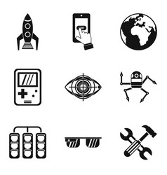 Geo icons set simple style vector