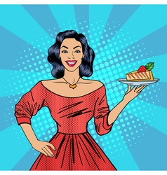 Girl holding a cake housewife with cheesecake vector