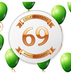 Golden number sixty nine years anniversary vector image