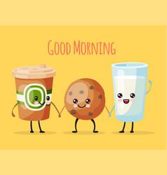 Good morning funny cartoon character cup tea vector