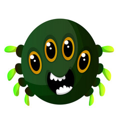 green monster with four eyes on white background vector image