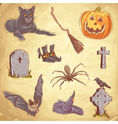 Halloween objects handdrawn color vector
