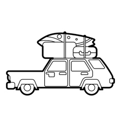 Hatchback car with cargo luggage icon vector image vector image
