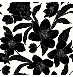 Hellebore floral seamless pattern black tattoo vector image