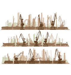 horizontal lines of industrial city with cargo vector image