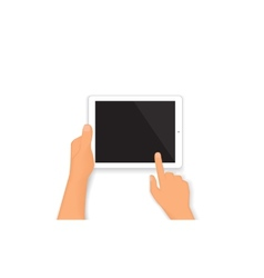 Human hands hold a tablet pc vector