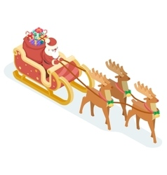 Isometric 3d Santa Claus Grandfather Frost Sleigh vector