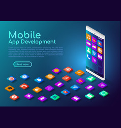 Isometric web banner smartphone with mobile app vector