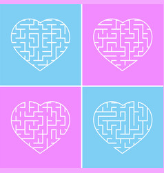 labyrinth heart a set of four options simple flat vector image