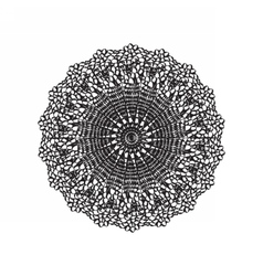 Lace embroidery round ornament vector
