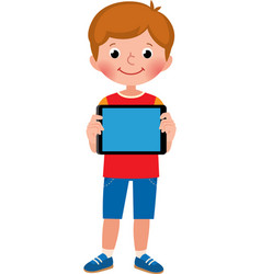 little happy cute boy in full growth holds a vector image