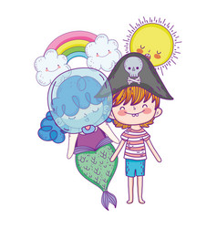 little pirate with mermaid in clouds vector image