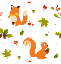 lovely seamless pattern with cute fox and squirrel vector image