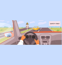 Male hands driving car moving on highway vector