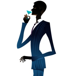Man with a martini vector
