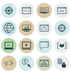 Marketing icons set with focus group online vector